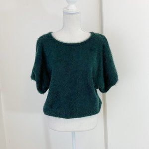 Knot Sisters Dark Green Fuzzy Short Sleeve Sweater